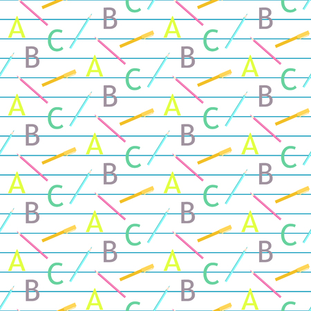 lined: School objects vector seamless pattern. Pencil and pens on white lined paper background.