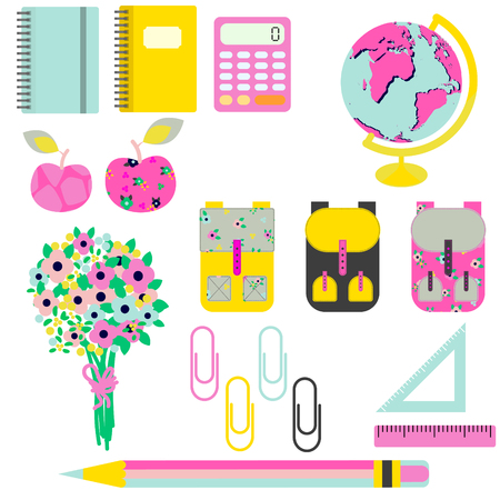 knapsack: School supplies vector clip art stationery objects. Bright yellow and pink objects for first-grader - flowers, knapsack, globe, rulers and stationery items.
