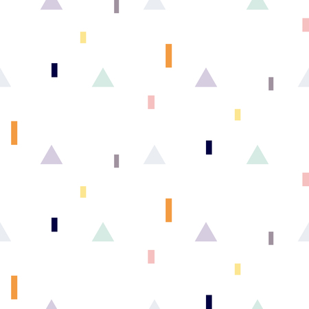 fine print: Vector seamless pattern with geometric shapes. Blue triangles and orange rectangles fine print white background.