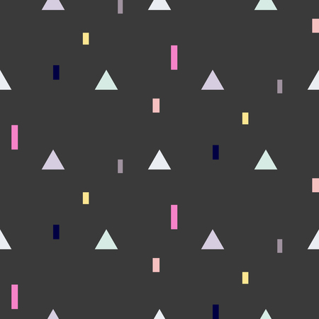 fine print: Vector seamless pattern with geometric shapes. Blue triangles and pink rectangles fine print black background.