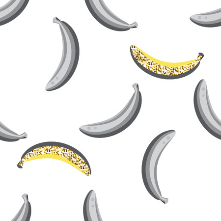 accents: Banana with glitter accents seamless vector pattern. Grey banana food background on white. Illustration