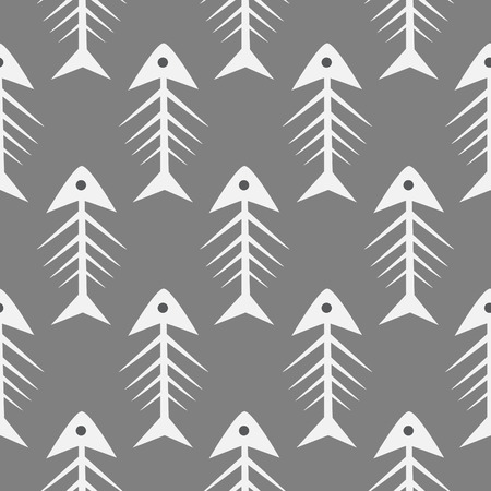 Fishbone monochrome seamless vector pattern. Grey and white fish bone textile pattern design.
