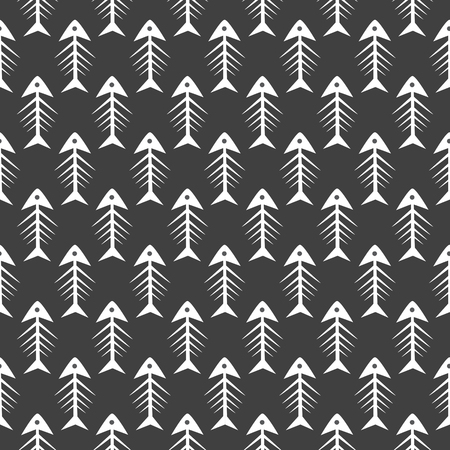 illustration of black fishbone: Fishbone monochrome seamless vector pattern. Black and white fish bone textile pattern design.