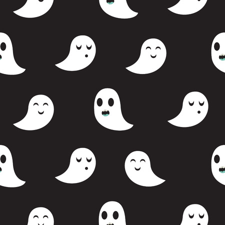 poltergeist: Ghost black seamless vector pattern. Funny spooks in monochrome colors.