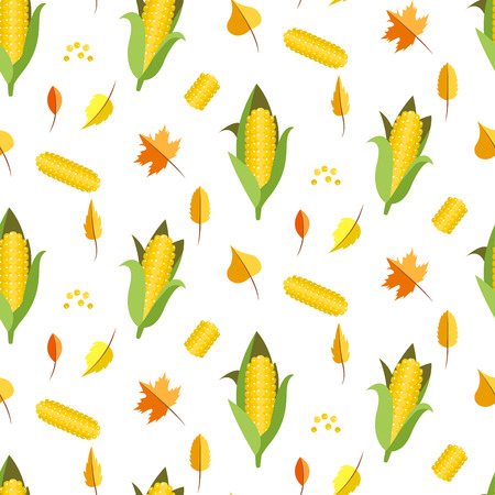 sweetcorn: Corn seamless pattern vector illustration. Maize ear or cob. Yellow sweetcorn and seeds autumn white background.