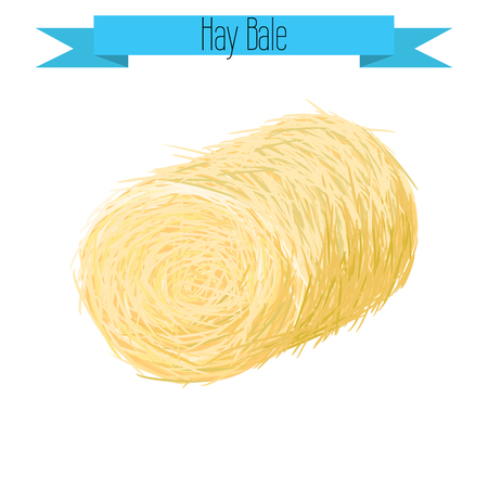 a straw: Hay bale vector illustration on white. Straw bale isolated.