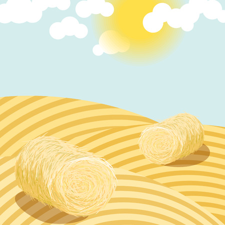 Hay bales on rural field on a sunny day illustration. Straw bales on wheat country fields. Agriculture landscape. Illustration