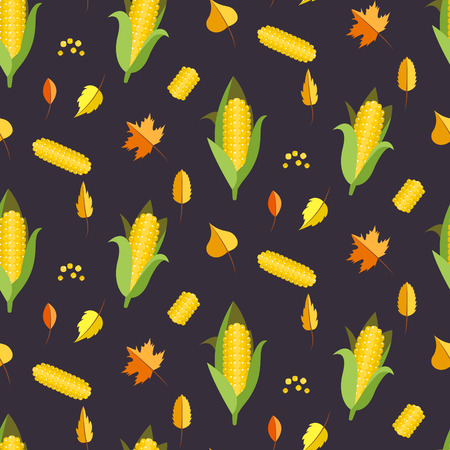 sweetcorn: Corn seamless pattern vector illustration. Maize ear or cob autumn purple background. Yellow sweetcorn and seeds. Illustration