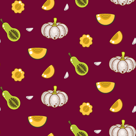 gourds: Autumn harvest seamless vector pattern. White gourds pumpkins and garlic cloves repeat vinous background. Illustration