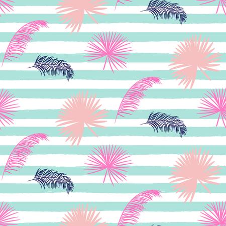 banana leaf: Pink banana palm leaves seamless pattern on striped blue background. Tropical banana jungle leaf.