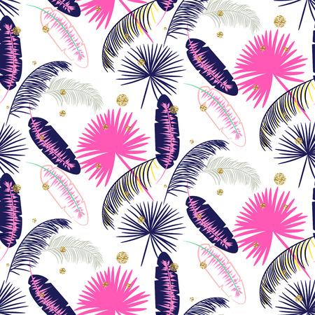 banana leaf: Pink and blue banana palm leaves seamless pattern on white background. Tropical banana jungle leaf. Glitter dots. Illustration