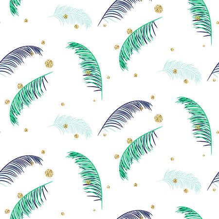banana leaf: Blue and green palm leaves seamless pattern on white background. Tropical banana jungle leaf.