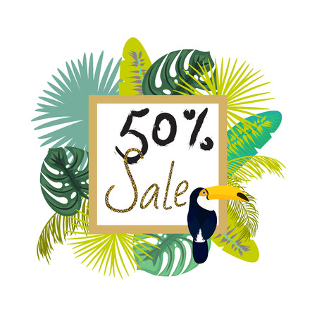 Frame banner for summer sale advertisement. Palm green leaves flyer with toucan on frame for fashion or cosmetics shop. Sale 50 percent ad vector illustration. Illustration