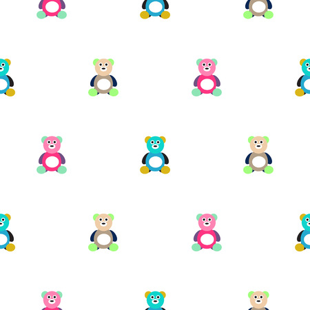 motley: Bear motley kid pattern. Baby bear toy vector seamless pattern for fabric print and apparel. Illustration