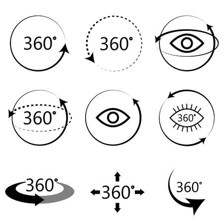 360 gradi angolo di visione completa di icone. Bianco e nero semplice icona set. Virtuali segni Tour panoramico.