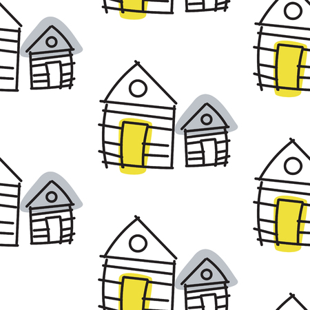 shack: Line hut houses scandinavian ornament. Vector hand drawn seamless pattern simple linear style with yellow and grey spots.