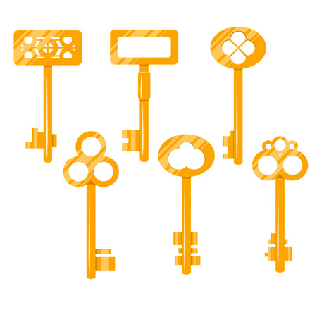 Keys gold vector cartoon illustration. Isolated vintage keys on white. Key icon set. Illustration