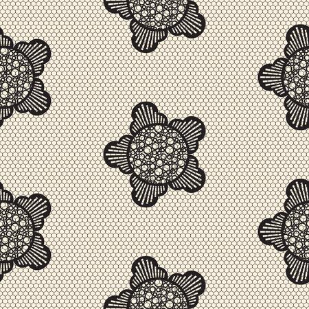 hosiery: Flower lace seamless pattern net. Black cell textile openwork knit on beige. Texture hosiery monochrome knit. Illustration