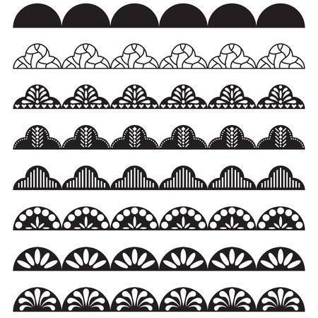 Lace border pattern brush for hem decoration. Black openwork net ornament.