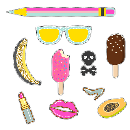 Patches sticker set. Vector pin badges - sunglasses, banana, icecream, skull and lipstick icons.