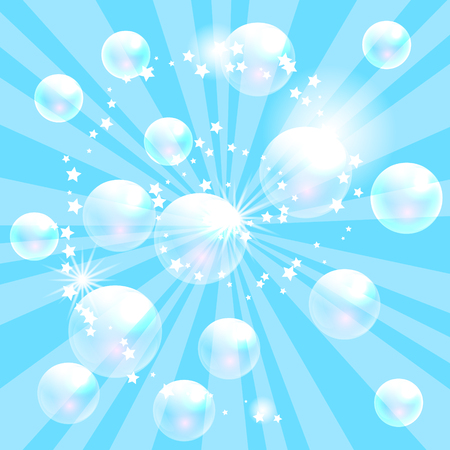 washing powder: Vector soap bubbles blue background. Transparent bubbles for banner and washing powder package design.