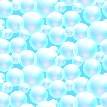 washing powder: Vector soap bubbles blue seamless pattern. Transparent bubbles for banner and washing powder package design. Illustration