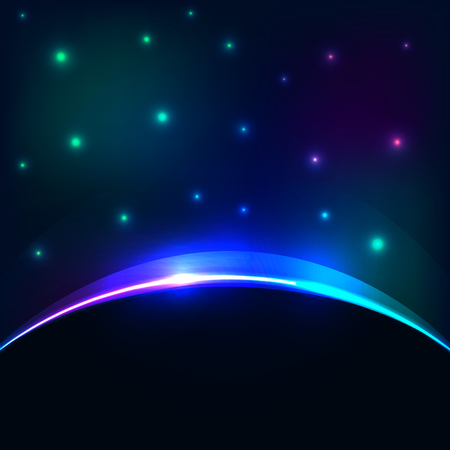 eclipse: Vector eclipse cosmic sky background. Glowing stars and planet backlight abstract effect. Illustration