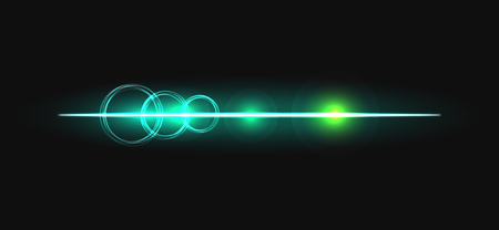 glow stick: Glow stick line with circles vector effect. Luminous neon line beam and flare circles.