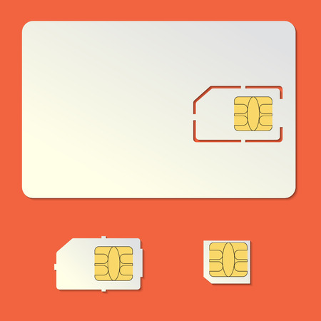 micro chip: Sim card empty vector set. Cell phone standard and micro chip. Illustration