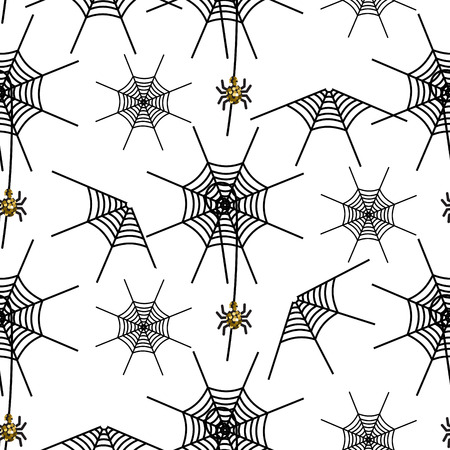 spider net: Halloween spider net vector pattern. Black and gray spooky background with glitter spider. Illustration