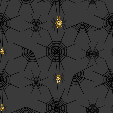 spider  net: Halloween spider net vector pattern. Black and white spooky background with glitter spider. Illustration