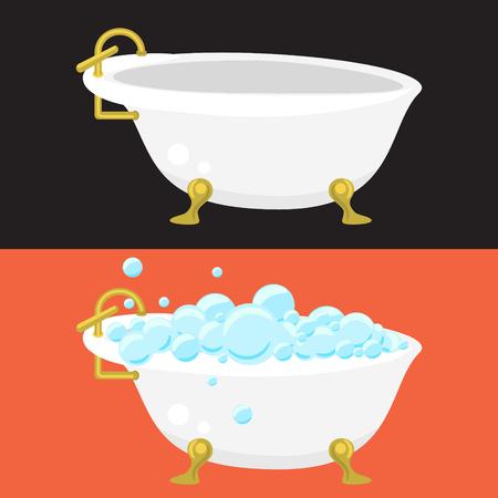 sanitary engineering: Bath tub sanitary engineering vector in flat syle. Retro bathtub with soap bubbles. Empty retro tub.