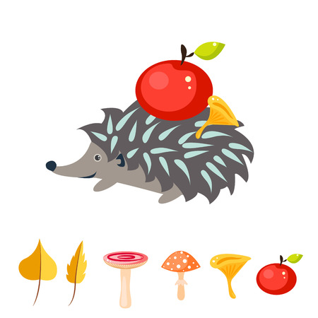urchin: Cartoon hedgehog with red apple on his back. Mushrooms and autumn leaves vector. Gray urchin.