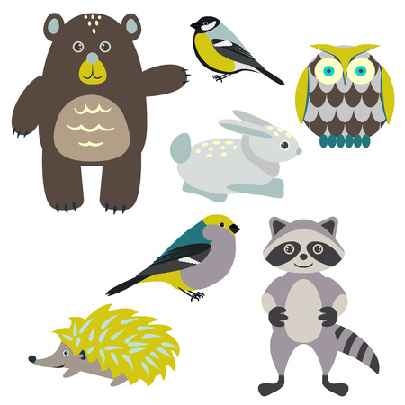 Forest cartoon animals isolated on white for kids. Brown bear, birds, green hedgehog, green owl, gray racoon and blue bunny. Illustration
