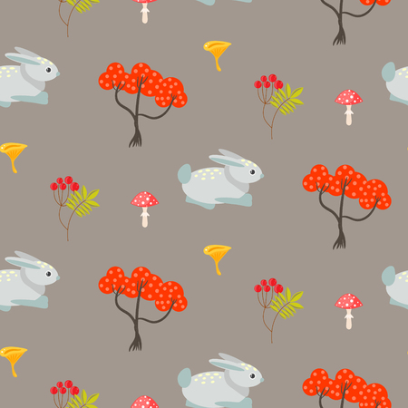 earth color: Orange autumn trees and blue bunny on earth color seamless pattern. Rowan branches and mushrooms background.