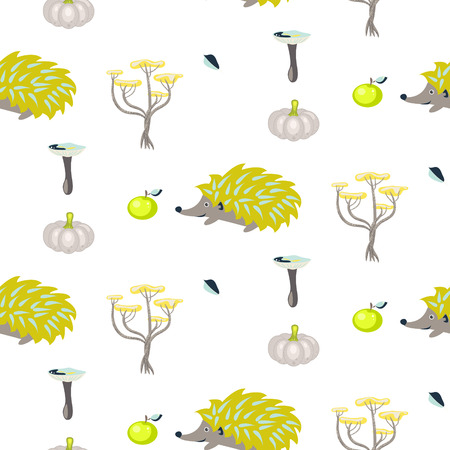 urchin: Green and gray urchin fall seamless white pattern. Trees and pumpkin background. Illustration