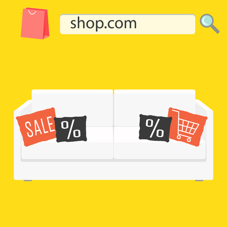 white sofa: Online shop sale banner with white sofa and pillows. Furniture shop advert flyer.