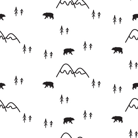 Scandinavian simple style black and white bear seamless pattern. Bears, mountains and pines monochrome silhouette pattern.