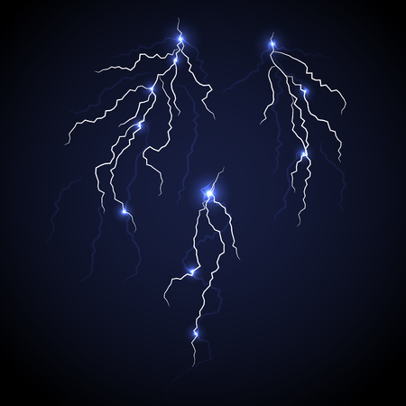 discharge: Vector lightnings set with flash spots isolated. Electric discharge illustration. Thunder and lightning on blue night dark background.