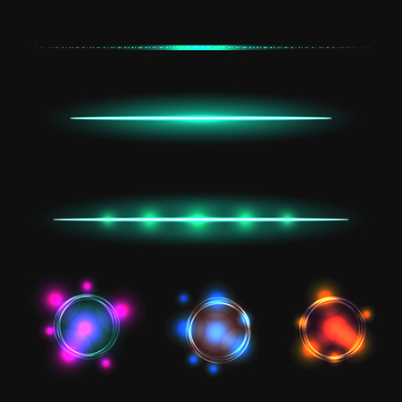 glow stick: Glow stick line vector effect set. Luminous lines and flare circles. Illustration