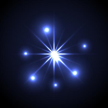 radiance: Shining vector star illustration. Glow transparent spot radiance on blue background.