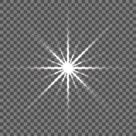 Shining vector star illustration. Glow transparent spot radiance. Illustration