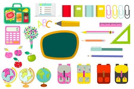 knapsack: School stationery supplies vector clip art objects. Blackboard board with education objects - knapsack, globe, rulers, calculator and stationery items.