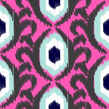 hot pink: Ikat ogee vector seamless pattern. Abstract floral background for fabric, print or wrapping paper. Gray on hot pink design. Illustration