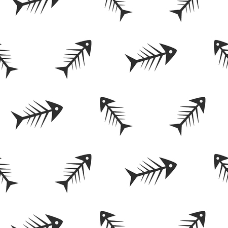 illustration of black fishbone: Fishbone monochrome seamless vector pattern. Black and white chaotic fish bone textile pattern design.