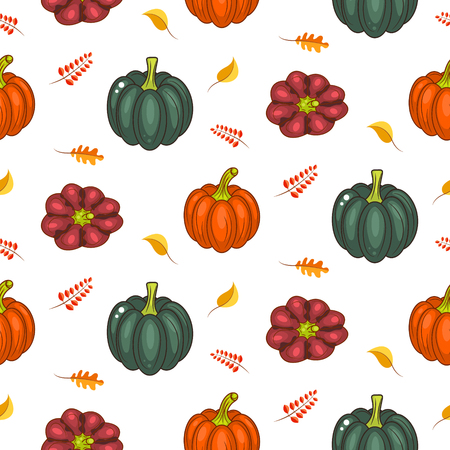 autumn harvest: Autumn harvest seamless vector pattern. Acorn green pumpkins squash and faded leaves repeat white background. Illustration