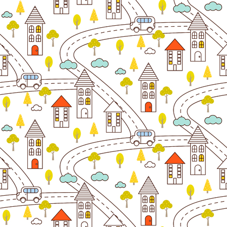 hamlet: Outline countryside seamless vector pattern. Village with road, houses, car and trees repeat background. Line style partially colored landscape. Illustration