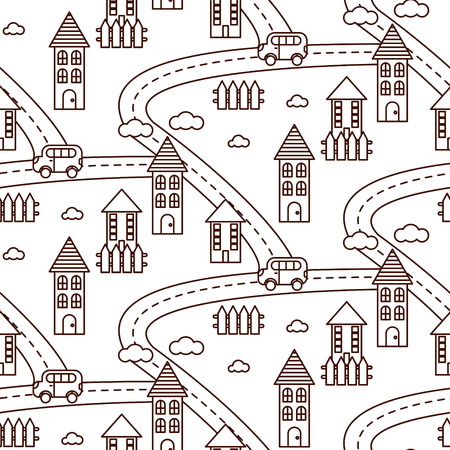 hamlet: Outline village seamless vector pattern. Countryside landscape with road, houses, car and fields repeat background. Line style coloring page.
