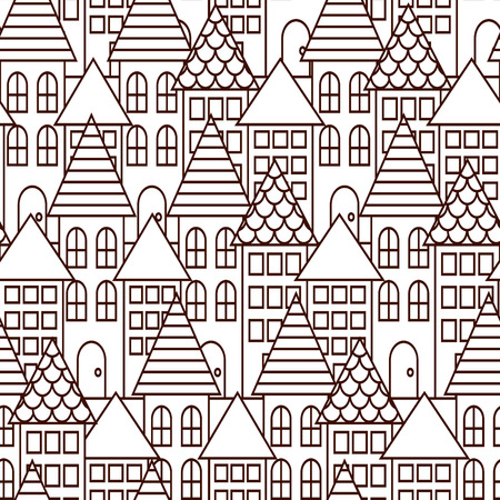 burg: Outline coloring cityscape seamless pattern. Monochrome building repeating background.