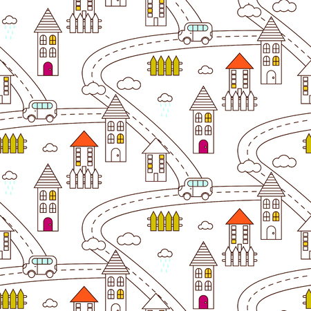 Outline village seamless vector pattern. Rustic landscape with road, houses, car and fields repeat background. Line style coloring page.